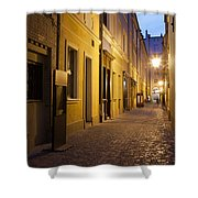 Narrow Street In Old Town Of Wroclaw In Poland Shower Curtain