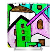 Narrow Village Shower Curtain