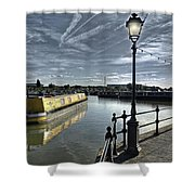 Narrowboat Idly Dan At Barton Marina On Shower Curtain