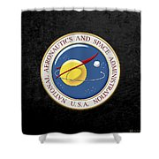 N A S A Emblem Over Black Velvet Shower Curtain