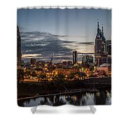 Nashville Broadway Street Shelby Street Bridge Downtown Cityscape Art Shower Curtain
