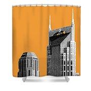 Nashville Skyline At And T Batman Building - Orange Shower Curtain
