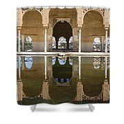 Nasrid Palace Arches Reflection At The Alhambra Granada Shower Curtain
