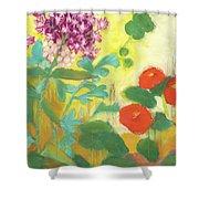 Nasturtiums, Rose Milkweed And Rue Shower Curtain