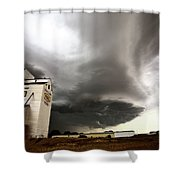 Nasty Looking Cumulonimbus Cloud Behind Grain Elevator Shower Curtain