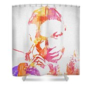 Nat King Cole Watercolor Shower Curtain