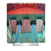 National Columns Blue Shower Curtain