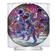 Native American - 3 Young Children Pow Wow Dancing Shower Curtain