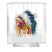 Native American Chief Side Face Shower Curtain