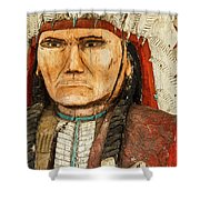 Native American Chief With Pipe Shower Curtain