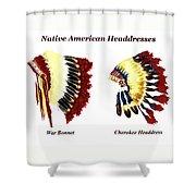 Native American Headdresses Shower Curtain