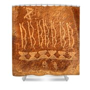 Native American Petroglyph On Orange Sandstone Shower Curtain