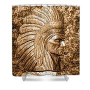 Native American Statue Copper  Shower Curtain