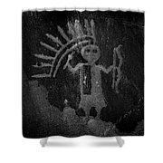 Native American Warrior Petroglyph On Sandstone Shower Curtain