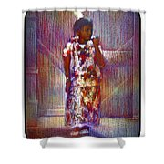 Native American - Young Girl Standing In Doorway Shower Curtain
