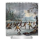Native Americans: Ball Play, 1855 Shower Curtain