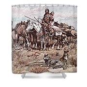 Native Americans Plains People Moving Camp Shower Curtain