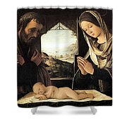 Nativity By Lorenzo Costa Shower Curtain