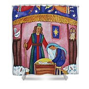 Nativity With Angels Shower Curtain