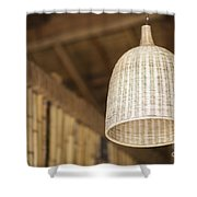 Natural Bamboo Interior Design Lampshade Detail Shower Curtain