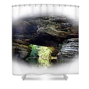 Natural Rock Bridge  Over Water  Shower Curtain
