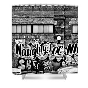 Naughty Or Nice In B W Shower Curtain