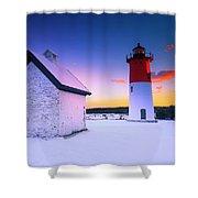 Nauset Lighthouse Sunset,  First Snow Shower Curtain