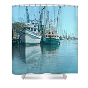 Nautical Aquas At The Harbor Shower Curtain