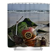 Nautical Collection Found On The Beach Shower Curtain