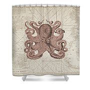 Nautical Octopus Sea Chart Shower Curtain