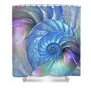 Nautilus Shells Blue And Purple Shower Curtain by Gill Billington