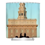 Nauvoo Lds Temple Sunset With Hyrum And Joseph Smith Bronze Statue Shower Curtain