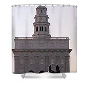 Nauvoo Temple Dawn  With Bronze Sculpture Of Hyrum And Joseph Smith Shower Curtain