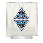 Navajo Blue Pattern Art Shower Curtain