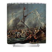 Naval Battle Between Spanish And Turks Shower Curtain
