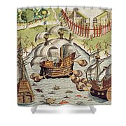 Naval Battle Between The Portuguese And French In The Seas Off The Potiguaran Territories Shower Curtain