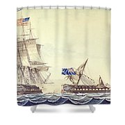 Naval Engagement Between The Uss Frigate Constitution And Hms Frigate Java Shower Curtain