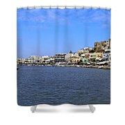 Naxos Greece Harbor Shower Curtain