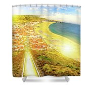Nazare Skyline Sunset Shower Curtain