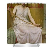 Neaera Reading A Letter From Catullus Shower Curtain by Henry John Hudson