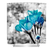 Near Bloom Blue Shower Curtain