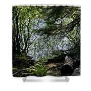 Near Water Of The Forest Lake. Shower Curtain