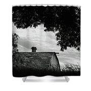 Nebraska - Barn - Black And White Shower Curtain