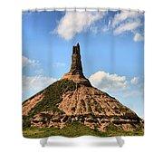 Nebraska Chimney Rock Panorama Shower Curtain