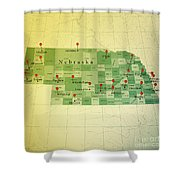 Nebraska Map Square Cities Straight Pin Vintage Shower Curtain