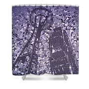 Needle And Ferris Wheel Mosaic Shower Curtain