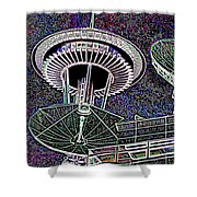 Needle Over Fisher Plaza Shower Curtain