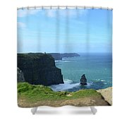 Needle Rock Formation With Blue Skies On The Cliff's Of Moher Shower Curtain