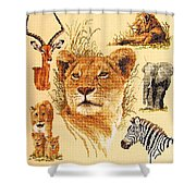 Needlework - African Animals Shower Curtain