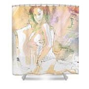 Neemah African American Nude Girl In Sexy Sensual Painting 4767. Shower Curtain